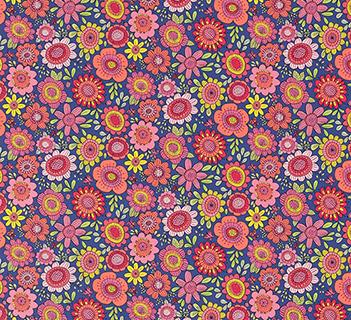 Scion Bloomin Lovely Sherbet/Rhubarb/Denim