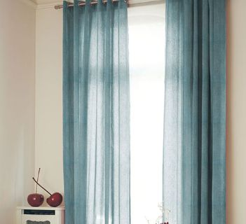 Voile Optik Faux Uni Vague Bleu